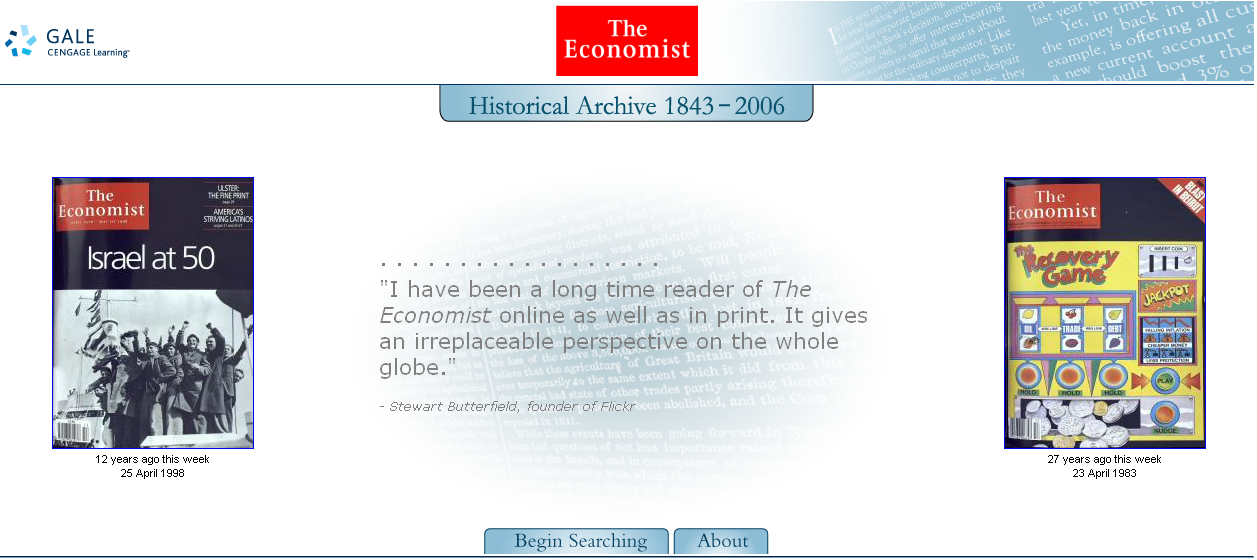 Portal de The Economist Historical Archive