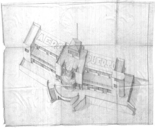 """Alzado del proyecto """"Aeropuerto de Gando"""". 1931"""