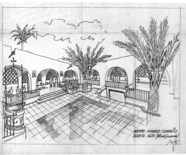 Aumento de obra en el presupuesto de la construcción del Museo de Néstor en el Pueblo Canario. 1955