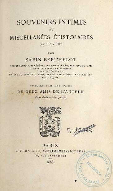 Souvenirs intimes ou miscellanées épistolaires (de 1826 a 1880)