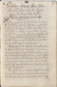 """Manuscrito original de la """"Verdadera fortuna de las Canarias"""""""