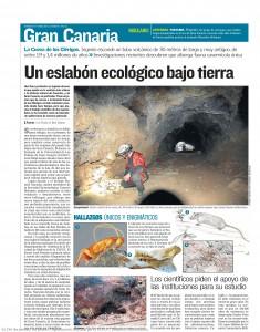 """Vista de la página de un periódico con un artículo titulado """"Un eslabón ecológico bajo tierra"""", ilustrado con la foto de una persona espeleóloga en el interior de una cueva, así como de fotografías y dibujos de animales."""