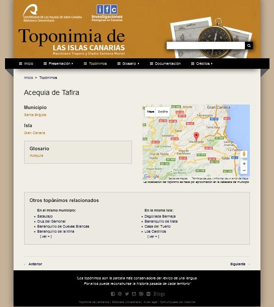 Portal web de la Toponimia de las Islas Canarias