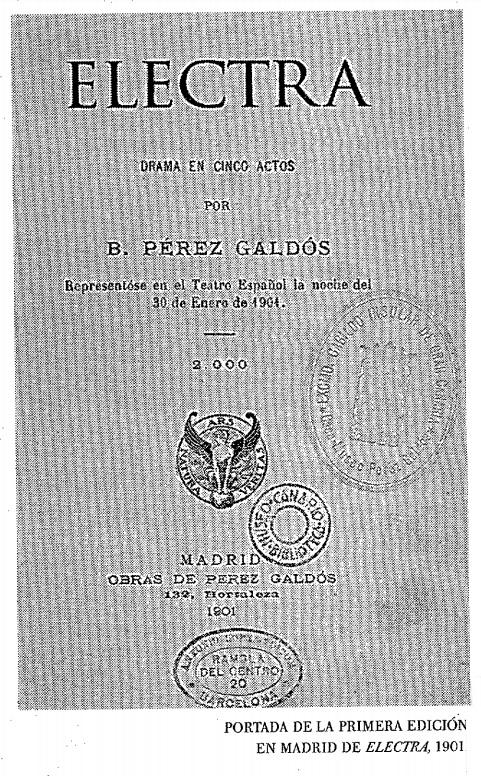 Primer libreto de Electra en su estreno de 1901 en Madrid