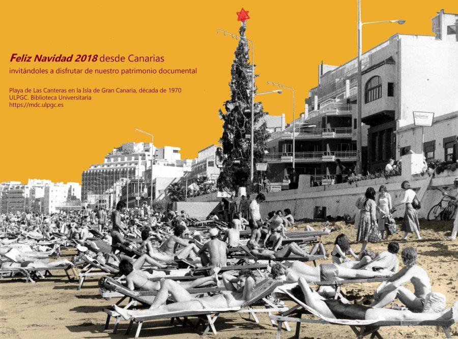 Feliz Navidad 2018 desde Canarias invitándoles a disfrutar de nuestro patrimonio documental. Playa de Las Canteras en la Isla de Gran Canaria, década de 1970. Memoria digital de Canarias (mdC)